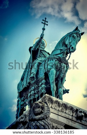 Budapest, Hungary. May 10, 2014: a statue of the first Hungarian king Saint Stephen I in the Fisherman's Bastion in Budapest, Hungary on a sunny day.  - stock photo