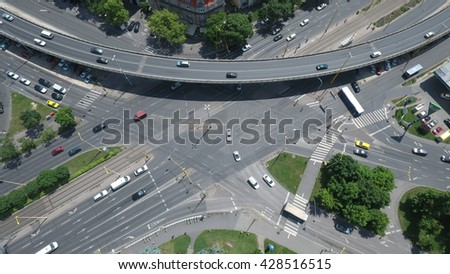 Budapest, Hungary - May 27, 2016: aerial footage from a drone shows a crowded junction and dense traffic in Budapest.