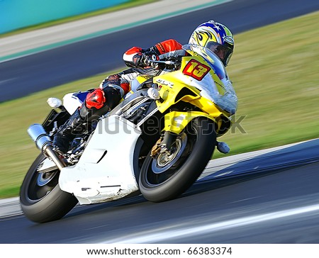 BUDAPEST, HUNGARY -MAY 26: BR Organisation -Dunlop Trophie Ladies - Hungaro Motorsport team -rider JAKAB Zsofia on may 26, 2009 in Budapest - stock photo