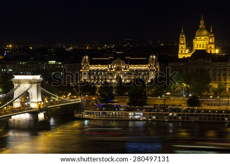 BUDAPEST, HUNGARY - MAY 11: Chain Bridge at Budapest viewed from the Castle at night. The first permanent bridge across the Danube in Budapest, and was opened in 1849. Hungary 2014 - stock photo