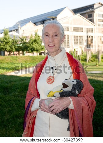 BUDAPEST, HUNGARY - MAY 17: Jane Goodall at Millenaris Teatrum on May 17, 2009 in Budapest, Hungary. - stock photo