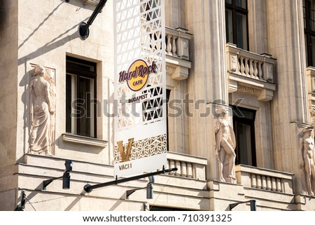 Budapest, Hungary - 2017, May 27 : The sign on the facade of the Hard Rock Cafe on the Vorosmarty square in the Vaci 1 building in Budapest, Hungary