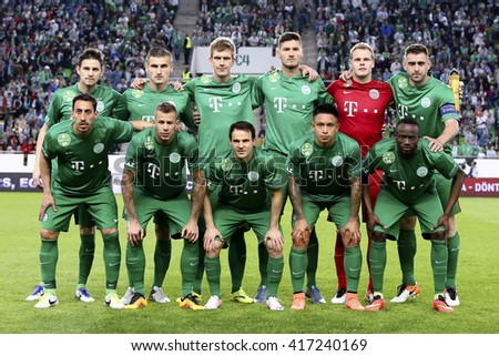 BUDAPEST, HUNGARY - MAY 7, 2016:  The team of Ferencvarosi TC during the Hungarian Cup Final football match between Ujpest FC and Ferencvarosi TC at Groupama Arena - stock photo