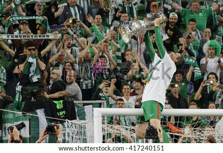 BUDAPEST, HUNGARY - MAY 7, 2016: Vladan Cukic of Ferencvarosi TC celebrates with the goblet during the Hungarian Cup Final football match between Ujpest FC and Ferencvarosi TC at Groupama Arena  - stock photo