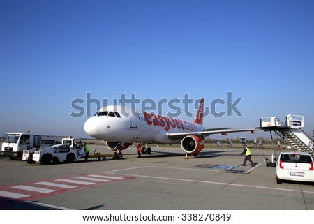 BUDAPEST, HUNGARY - NOVEMBER 1, 2015: An EasyJet airplane sits on the tarmac at the airport in Budapest, Hungary. EasyJet is a British low-cost airline carrier. - stock photo