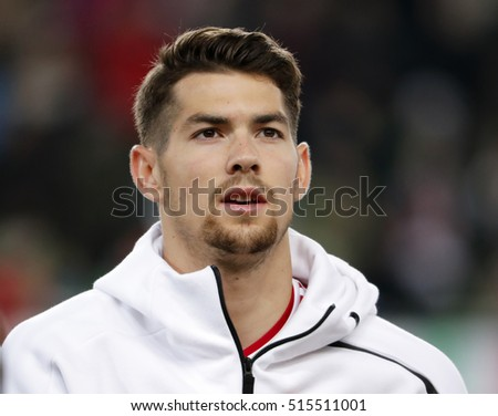 BUDAPEST, HUNGARY - NOVEMBER 13, 2016: Barnabas Bese of Hungary listens to the anthem prior to the Hungary v Andorra FIFA WC Qualifier at Groupama Arena.