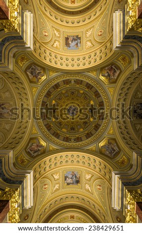 BUDAPEST, HUNGARY - NOVEMBER, 27 2014: Interior of the St. Stephen's Basilica, a Roman Catholic basilica in Budapest, Hungary. It is named in honor of Stephen, the first King of Hungary, built in 1905 - stock photo