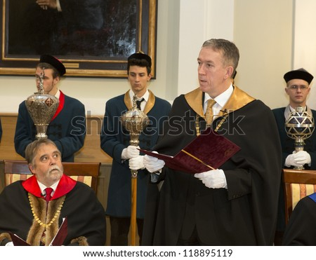 BUDAPEST, HUNGARY - NOVEMBER 9: Tamas Dezso dean speaks on the ceremony  after honoring professors of EU as Doctor honoris causa by ELTE University senat on November 9, 2012 in Budapest, Hungary.