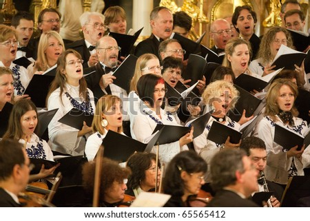 BUDAPEST, HUNGARY - NOVEMBER 20: The Budapest Youth Choir performs at the Szent TerÂz Templom on Nov 20, 2010 in Budapest, Hungary