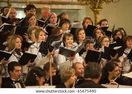 BUDAPEST, HUNGARY - NOVEMBER 20: The Budapest Youth Choir performs at the Szent Teraz Templom on Nov 20, 2010 in Budapest, Hungary