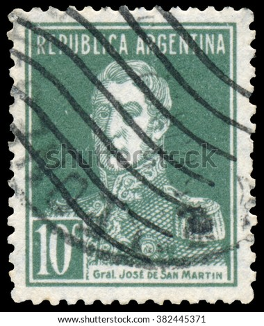 BUDAPEST, HUNGARY - 13 october 2015: a stamp printed by Argentina shows a national hero, Jose de San Martin, circa 1927