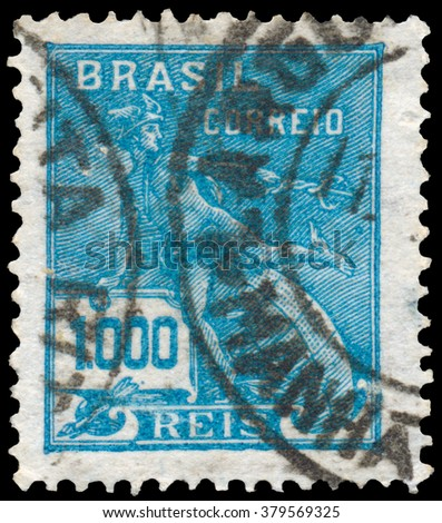 BUDAPEST, HUNGARY - 14 October 2015: a stamp printed in the Brazil shows image celebrating energy, circa 1933 - stock photo