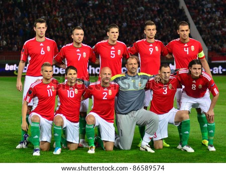 BUDAPEST, HUNGARY - OCTOBER 11 : Hungarian national football team pose for a team photo at Hungary - Finland European Cup qualifier football match at October 11, 2011 in Budapest, Hungary. - stock photo