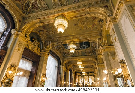 BUDAPEST, HUNGARY - OCTOBER 13, 2016: Interior of New York Cafe built in 1894, located at the Boscolo Hotel. It is one of the most beautiful coffee shop in the world.