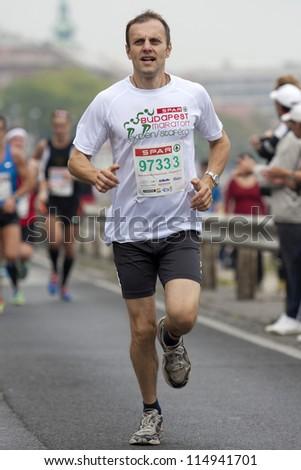 BUDAPEST, HUNGARY - OCTOBER 7: unidentified marathon runner at SPAR Budapest International Marathon on October 7, 2012 in Budapest, Hungary - stock photo