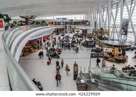 Budapest, Hungary on 17th May 2016: Budapest Ferenc Liszt International Airport (BUD) named after Franz Liszt, the Hungarian composer and is one of the busiest airports in Central and Eastern Europe - stock photo