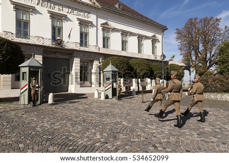 BUDAPEST, HUNGARY - SEPT 26 2016: Ceremonial guard at the Presidential Palace. They guard the entry.  The  Castle District is a UNESCO World Heritage site,and was first completed in 1265.