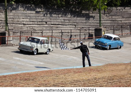 BUDAPEST, HUNGARY - SEPT 15: two former East-German cars named Trabant 601 and Wartburg 1000 on car competition at the Velodrom Millenaris Old Timer Expo  on September 15, 2012 in Budapest, Hungary - stock photo