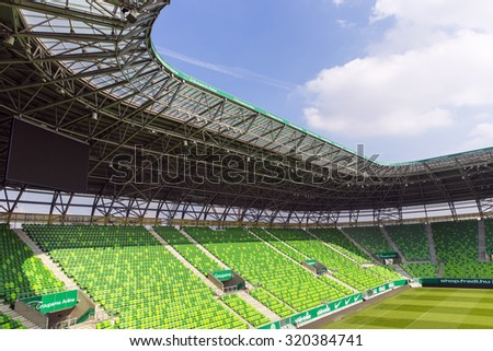 BUDAPEST, HUNGARY - SEPTEMBER 23, 2015: Interior of the Groupama Arena, a multi-purpose stadium in Budapest, Hungary and the home of Ferencvarosi TC football club.