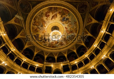 BUDAPEST, HUNGARY- SEPTEMBER 11 2016: Interior of the Hungarian Royal Opera House, considered one of the architect's masterpieces and has the third best acoustics in Europe.