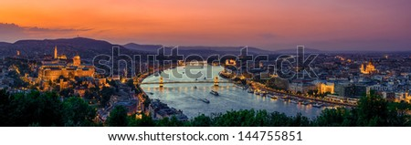 Budapest, Hungary sunset view with Danube river, Parliament, Castle. View from Gellert Hill - stock photo