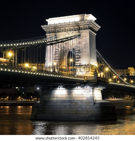 Budapest, Hungary. Szechenyi Chain Bridge on the Danube river at night - stock photo