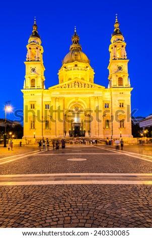 Budapest, Hungary. Twilight image with Saint Stephen Square and Basilica, largest hungarian cathedral, built as Roman Catholic basilica. - stock photo