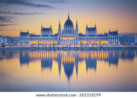 Budapest. Image of hungarian parliament in Budapest during sunrise.