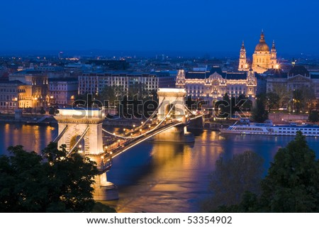 Budapest in the evening, decorative lighting and bridges. - stock photo