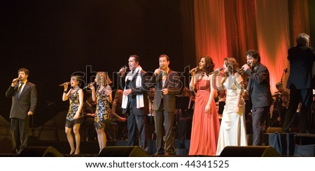 BUDAPEST - JANUARY 09: Cotton Club Singers Band performs on stage at Sportarena on January 09, 2010 in Budapest, Hungary.