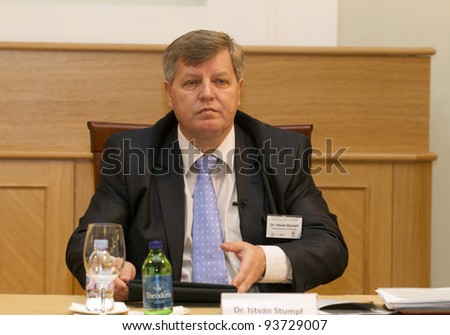 "BUDAPEST - JANUARY 26: Istvan Stumpf, Justice of Hungarian  Const. Court on the Conference ""The European Constitutional Area"" by Max Planck Inst. and ELTE Univ. on Jan.26, 2012 in Budapest, Hungary."