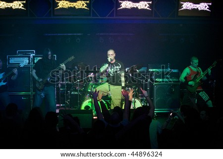 BUDAPEST - JANUARY 18: UK Death Metal Band called Ingested performs on stage at Diesel Club on January 18, 2010 in Budapest, Hungary.