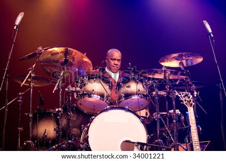 "BUDAPEST-JULY 16: Drummer from the ""B.B. King Band"" performs in concert at Sportarena  Budapest July 16, 2009 in Budapest, Hungary - stock photo"