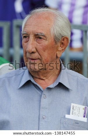 BUDAPEST - MAY 11: Hungarian football legend, Janos Gorocs during Ujpest vs. Honved OTP Bank League football match at Szusza Stadium on May 11, 2013 in Budapest, Hungary.