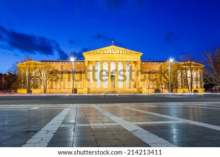 Budapest, Museum of Fine Arts in the evening, Hungary - stock photo
