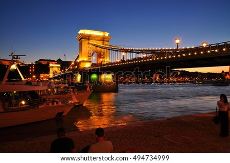 Budapest night lights, Chain bridge, Hungary