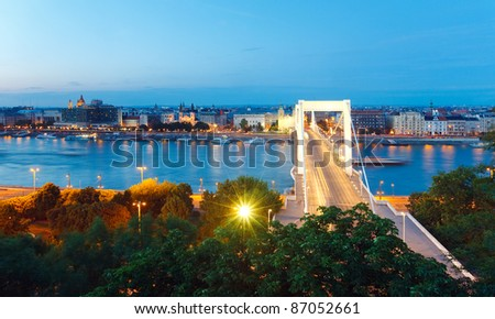 Budapest night panorama view. Long exposure. (All peoples, signs, and ships is unrecognizable) - stock photo