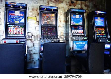 BUDAPEST, NOVEMBER 12, 2015 - Slot machines in a casino, Budapest, Hungary, Europe - stock photo