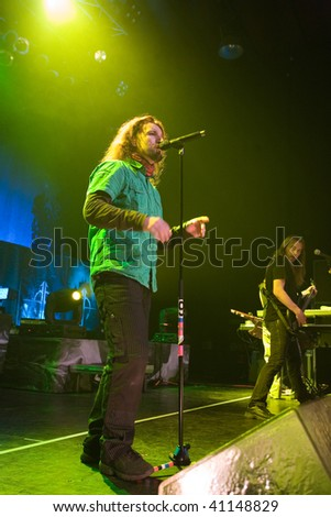 BUDAPEST - NOVEMBER 18: Sonata Arctica band performs on stage at PeCsa on November 18, 2009 in Budapest, Hungary.