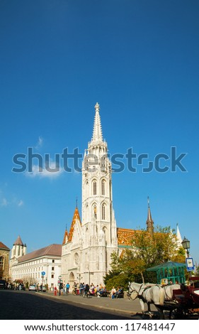 BUDAPEST - OCT 03:  Matthias Church in Budapest on October 03, 2012. Matthias Church is located at the heart of Buda's Castle District. It was originally built in Romanesque style in 1015.