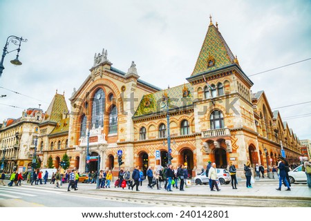 BUDAPEST - OCTOBER 22: Great Market Hall in Budapest on October 22, 2014 in Budapest. It's the largest indoor market in Budapest. It was designed and built by Samu Pecz around 1896. - stock photo