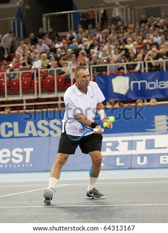 BUDAPEST - OCTOBER 30: Ivan Lendl plays in Tennis Classics 2010 on October 30, 2010 in Budapest, Hungary - stock photo