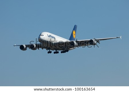 BUDAPEST - OCTOBER 02: Lufthansa Airbus A380 airliner on final approach on October 02, 2011 in Budapest. The A380 is currently the largest passenger airliner.