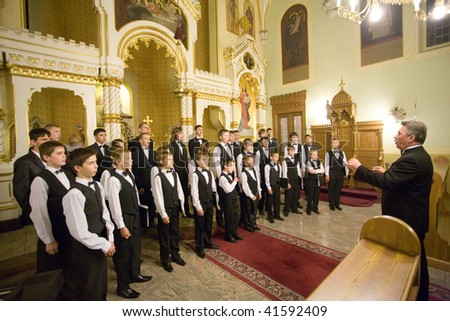 Church choir stock images royalty free images vectors - Michael in the bathroom sheet music ...
