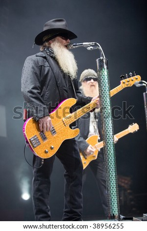 BUDAPEST-OCTOBER 15: ZZ TOP performs on stage at Sportarena October 15, 2009 in Budapest, Hungary - stock photo