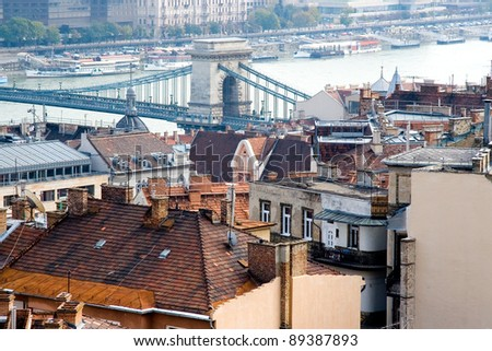 Budapest panorama and the famous Chain bridge - stock photo