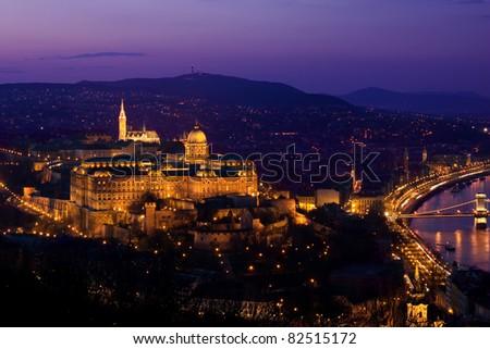 Budapest panorama by nightfall - stock photo