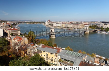 Budapest - panorama from castle - stock photo