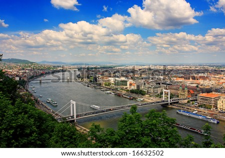 Budapest panorama from hill Gellert - stock photo
