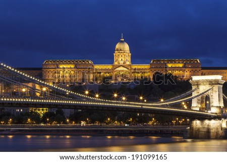 Budapest panorama Royal Castle, Chain Bridge and with the Fisherman Bastian on the background Hungary.  - stock photo
